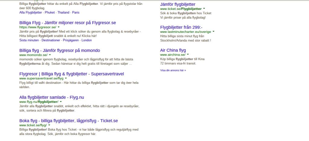 Flyg.nu hos Google.se